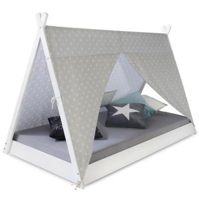 Sátor ágykeret, csillag mintás vászonnal, 90x200 cm, halványszürke - STAR